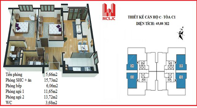 can ho 65m2 toa c1 xuan dinh