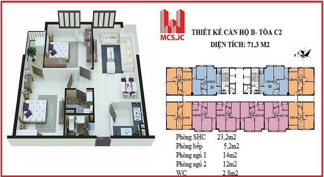 can ho 71m2 toa c2 xuan dinh